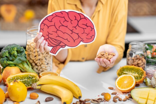 Human brain model and variety of healthy fresh food